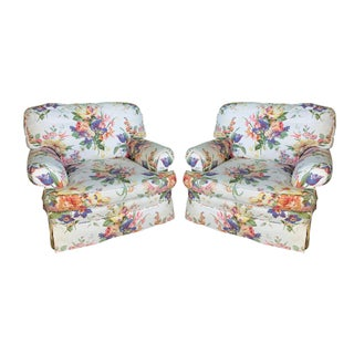 Floral Upholstered Club Chairs by Henredon for Ralph Lauren - A Pair For Sale