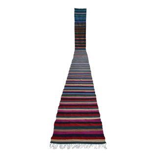 Vintage Turkish Long Runner Hand-Woven Kilim Runner Rug Stair Tread - 2′ × 24′3″
