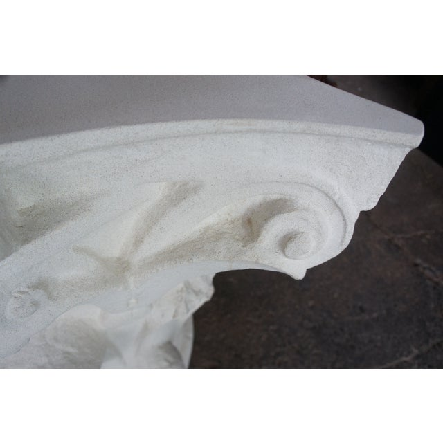 Spanish Michael Taylor Designs Faux Stone Console Table For Sale - Image 9 of 11