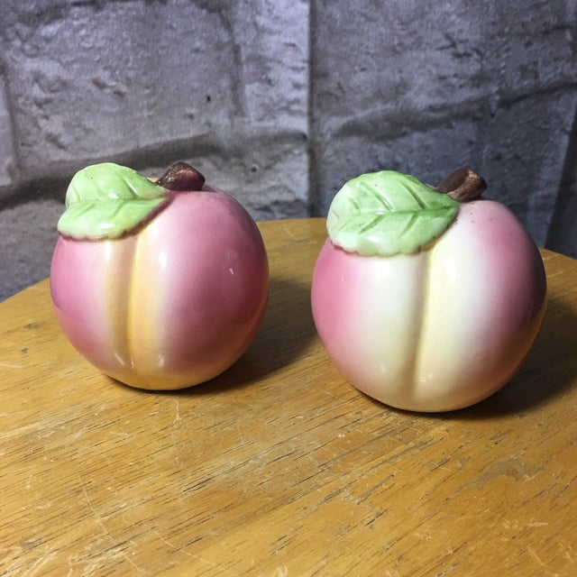 Vintage Peach Shaped Figural Salt & Pepper Shakers - a Pair For Sale - Image 10 of 10