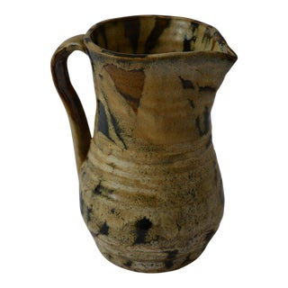 Late 20th Century Primitive Hand-Thrown Pottery Pitcher