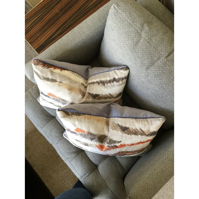 Contemporary Donghia Rubelli Silver Copper Tiger Striped Wave Velvet Lumbar Pillows - A Pair For Sale - Image 3 of 6