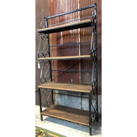 Industrial Vintage Ornate Iron Barn Wood Plant Stand For Sale - Image 3 of 3