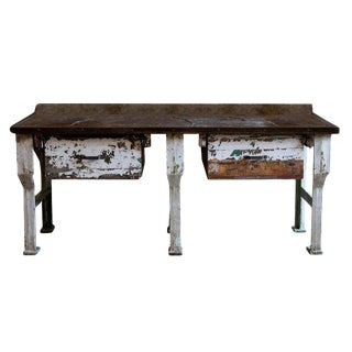 19th Century Industrial Work Table with Steel Base For Sale