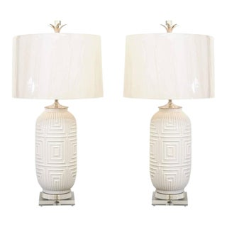 Remarkable Pair of Large-Scale Geometric Ceramic Lamps For Sale