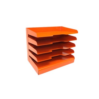 Mid Century Modern Orange Vertical Metal Office File For Sale