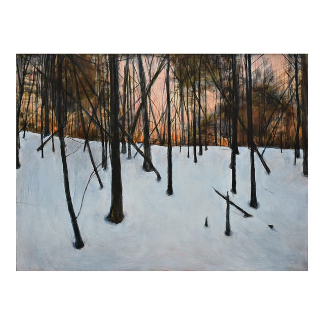 """Stephen Remick """"Sunrise in the Snowy Woods"""" Painting For Sale"""