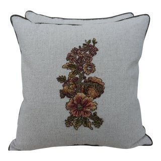 Melissa Levinson Floral Applique Linen Pillows - A Pair For Sale