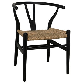 Zola Chair With Rush Seat, Charcoal Black For Sale