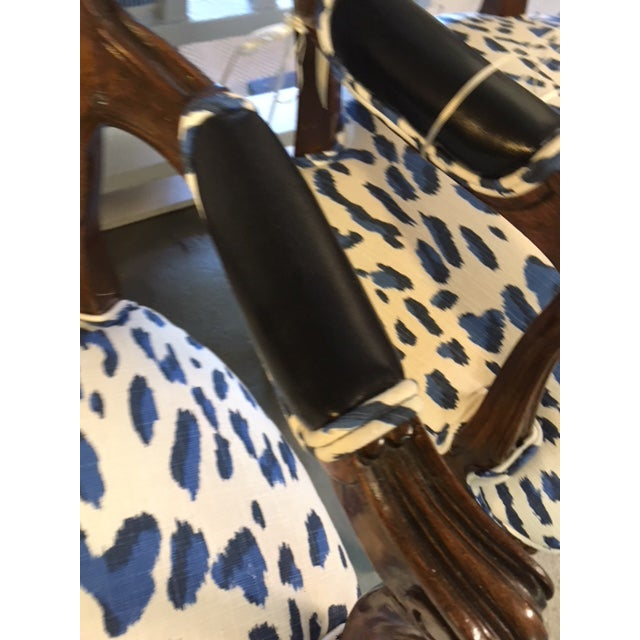 Blue Leopard Bergere Chairs - a Pair For Sale - Image 4 of 5