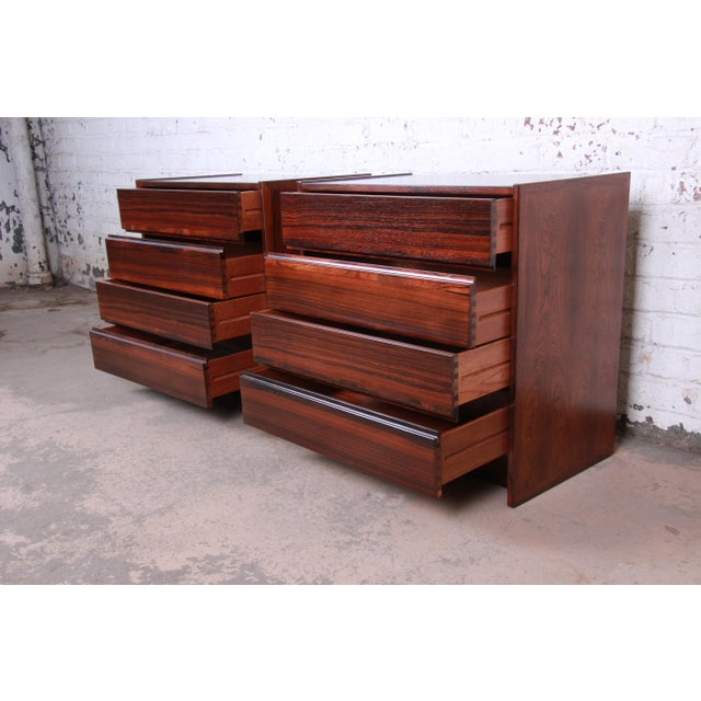 Danish Modern Rosewood Bachelor Chests or Large Nightstands, Newly Restored For Sale - Image 9 of 13