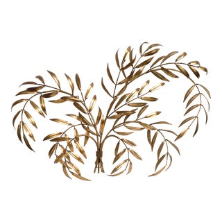 Vintage Italian Gilded Tole Leaves Wall Sculpture For Sale