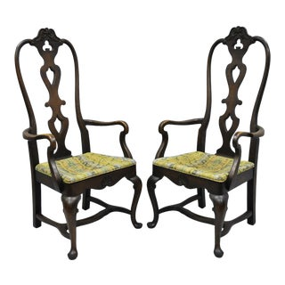 High Back Italian Baroque Swedish Rococo Style Dining Armchairs - a Pair