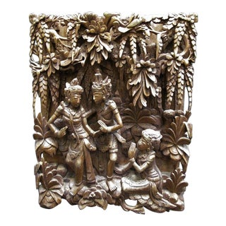 Balinese Relief Hand Carved Wood Panel Wall Sculpture For Sale