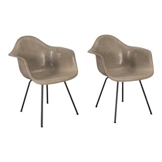 Pair of Eames Greige Arm Shell Chairs For Sale