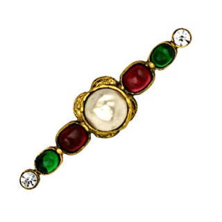 Chanel Signature Gripoix Bar Brooch For Sale