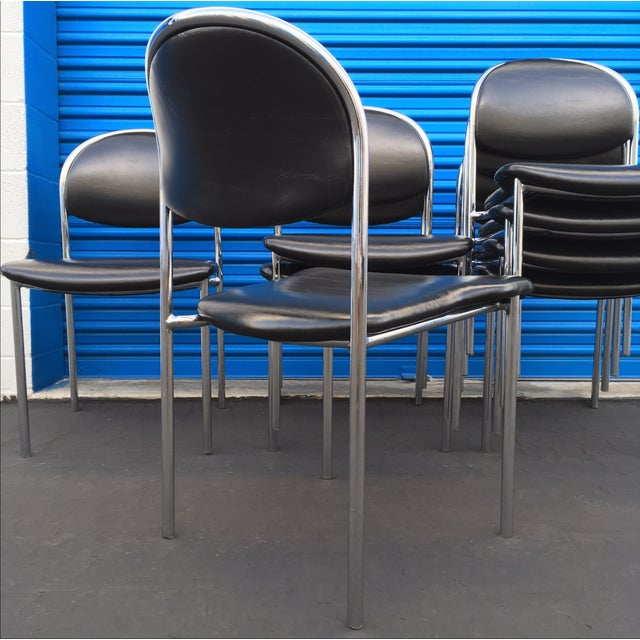 Thonet Chrome Black Modern Dining Chair - Set of 8 - Image 3 of 6