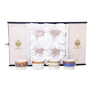 Fabergé Porcelain Tea, Coffee Cups Set of Four in a Velvet Case For Sale