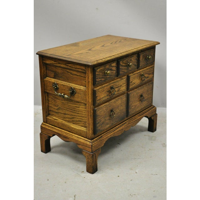 English Vintage English Colonial Miniature Oak Wood Small Campaign Chest Side Table For Sale - Image 3 of 10