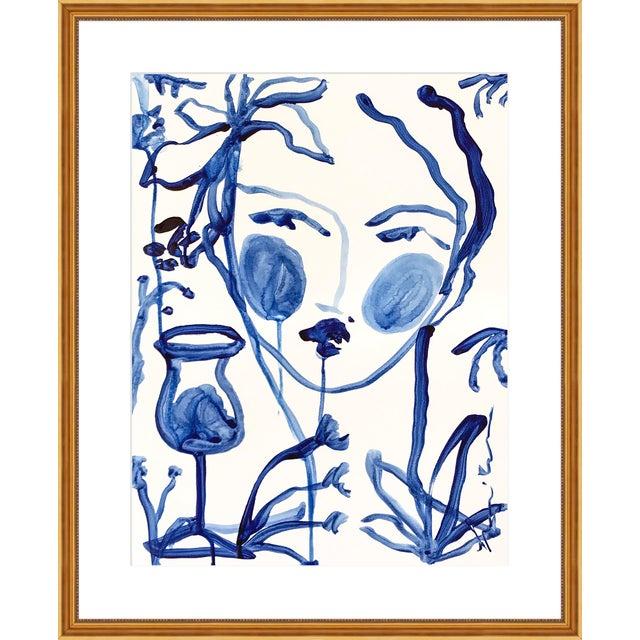 "Contemporary Medium ""Flowers & Wine Indigo"" Print by Leslie Weaver, 25"" X 31"" For Sale - Image 3 of 3"