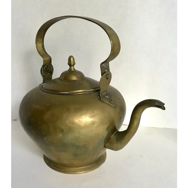Antique Brass Handled Teapot For Sale - Image 4 of 7