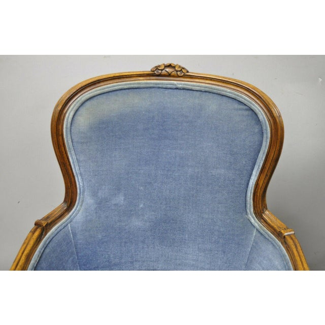 French Vintage French Louis XV Provincial Blue Bergere Lounge Arm Chairs - a Pair For Sale - Image 3 of 13