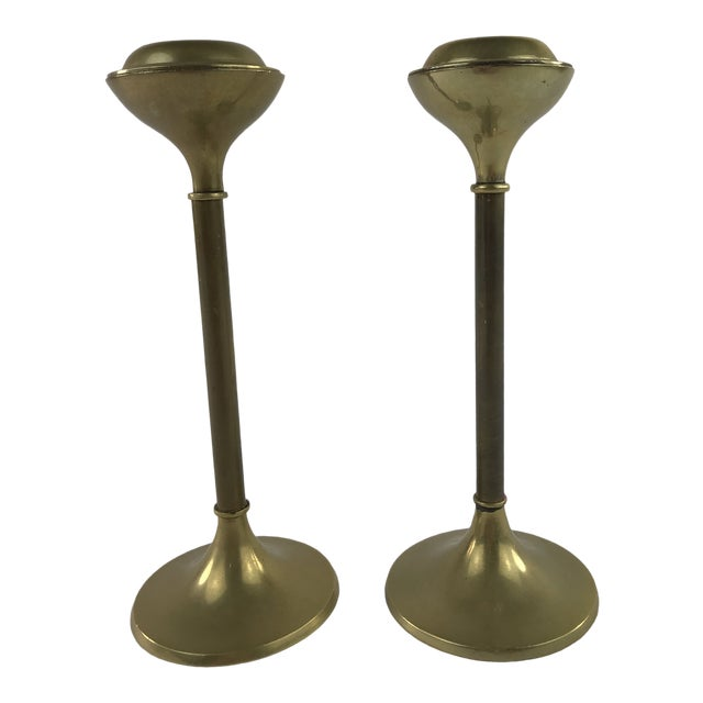 1960s Slender Brass Candlesticks - a Pair For Sale