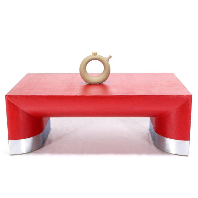 Large Rectangle Grass Cloth Mid-Century Modern Coffee Table in Fire Red For Sale In New York - Image 6 of 8