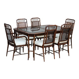 Century Furniture Faux Bamboo Cane Dining Set For Sale