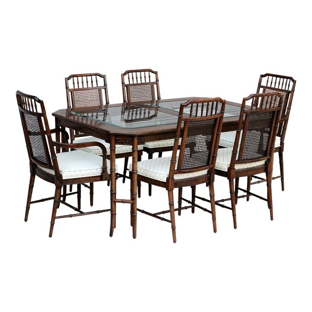 Century Furniture Faux Bamboo Dining Set For Sale