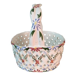 20th Century Hand-Painted Porcelain Basket