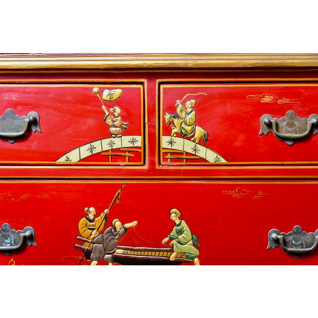 1940s Chinoiserie Red Lacquer Chest of Drawers For Sale - Image 5 of 13