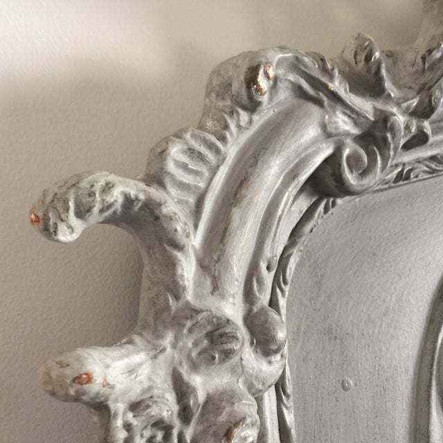 Grey Relief Beveled Floor Mirror For Sale - Image 4 of 7