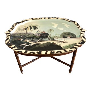 Hand Painted Lacquered Tray Table For Sale