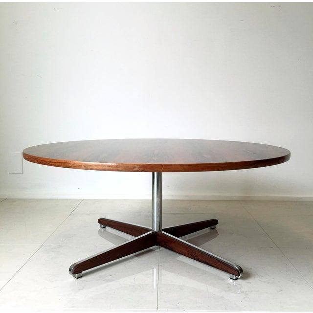 Danish Modern Rosewood Circular Coffee Table - Image 3 of 6