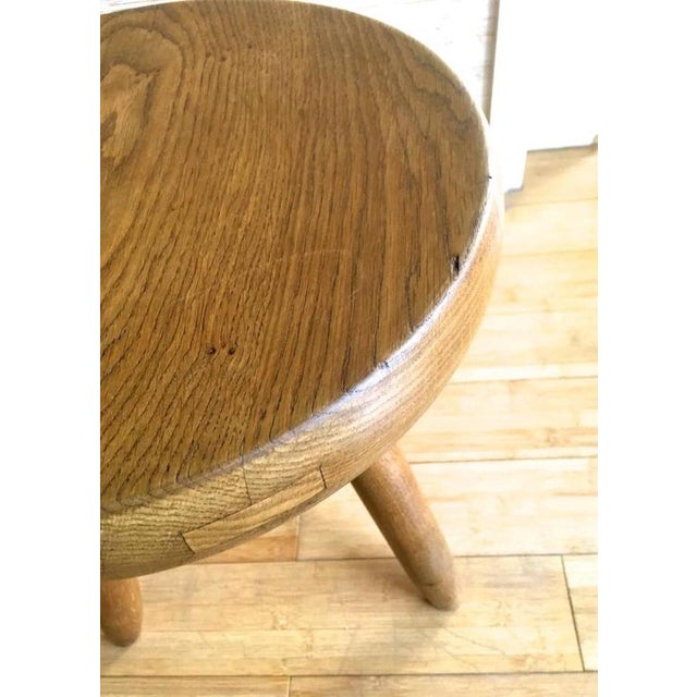 Charlotte Perriand 1950s High Tripod Ash Tree Stool in Vintage Condition For Sale - Image 6 of 8