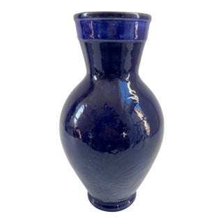 1970 Cobalt Blue Pottery Vase For Sale