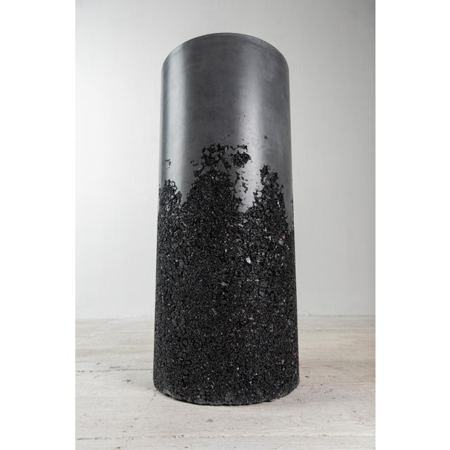 Contemporary Hand Made Tourmaline and Black Plaster Tall Drum, Side Table by Samuel Amoia For Sale - Image 3 of 13