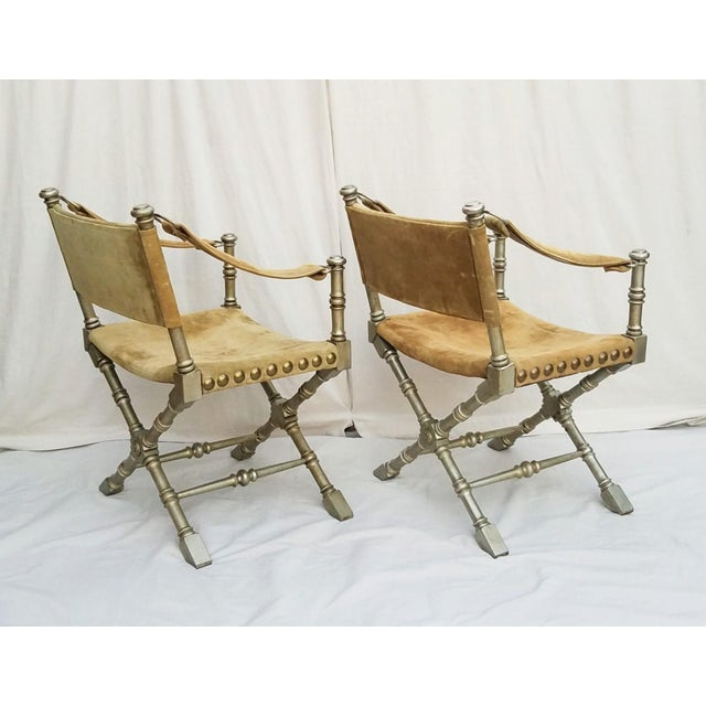 1950s 1950's Vintage Drexel Burnished Brass & Faux Bamboo and Suede Safari Style Chairs- a Pair For Sale - Image 5 of 9