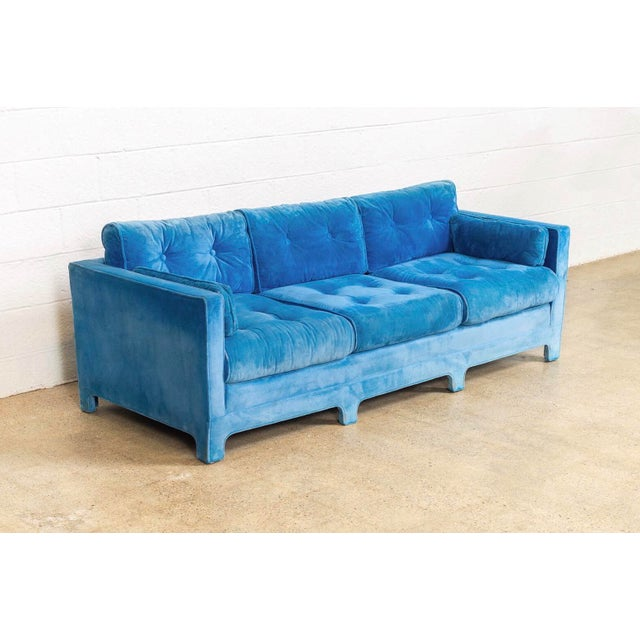 Mid-Century Modern Mid Century Blue Velvet Upholstered Three-Seat Sofa Couch 1970s For Sale - Image 3 of 11