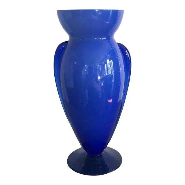 Vintage Blue Glass Winged Vase For Sale