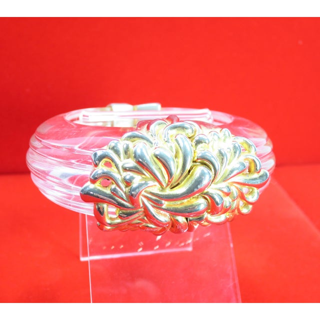 Inna Cytrine Paris Massive Runway Lucite Gilded Hinged Bangle Bracelet, 1980s For Sale - Image 4 of 13
