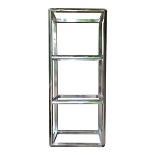 1980s Modern Etagere Nickeled Metal Bookcase For Sale