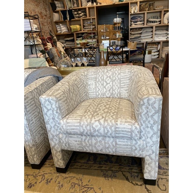 True Comfort! Fabulous pair of Vintage 1970's Hollywood Regency club chairs covered in a beautiful new linen by Mark...