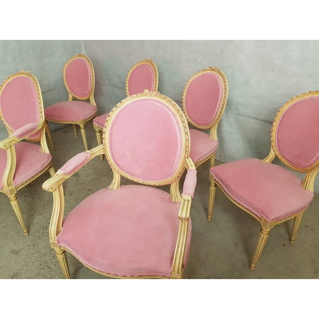 Amazing set of 6 antique French Louis XVI style painted and upholstered oak dining chairs. Two armchairs and four side...