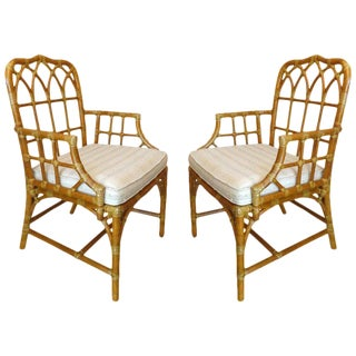 """1970s Boho Chic McGuire Bent Rattan """"Cathedral"""" Armchairs - a Pair For Sale"""
