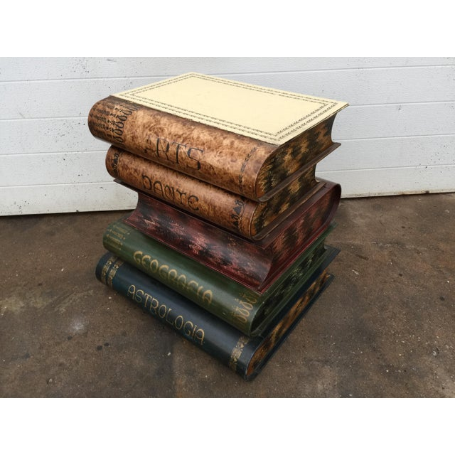 Italian Italian Metal Tole Painted Book Stack Table For Sale - Image 3 of 9