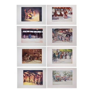 Antique Lithographs of Japan by Mortimer Menpes - Set of 8