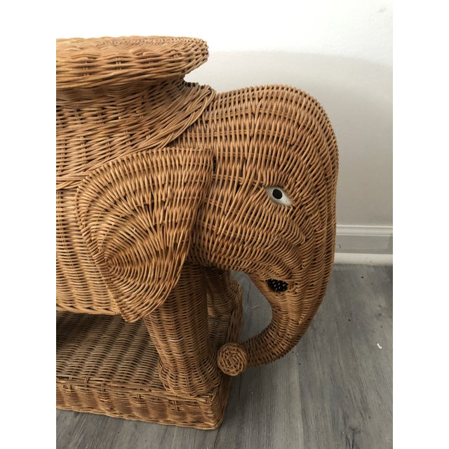 Mid-Century Modern 1960s Wicker Elephant Side Table For Sale - Image 3 of 6