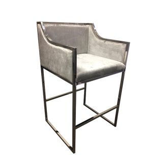 Modern Chrome and Gray Velvet Bar Chair